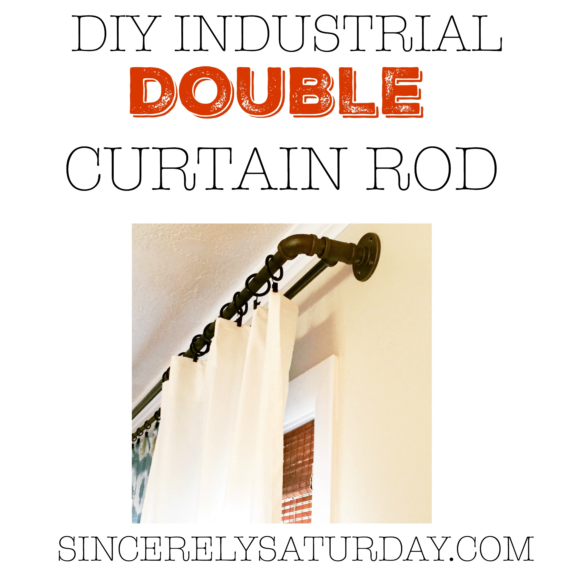 Diy Industrial Double Conduit Curtain Rod Sincerely Saturday